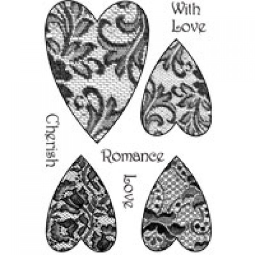 Woodware Clear Magic Lace Hearts