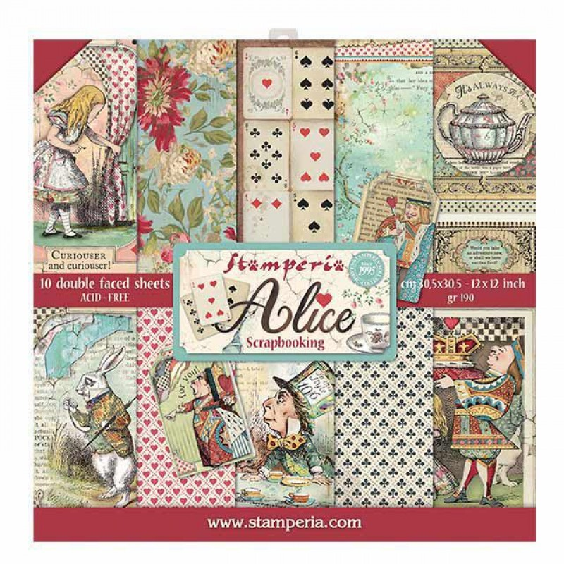 Stamperia Double Sided Paper Pad 12 x 12 inch Alice