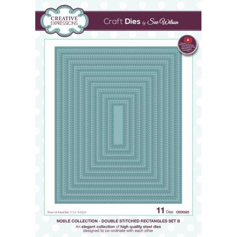 Creative Expressions - Sue Wilson - Noble Dies - Double Stitched Rectangles Set B