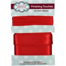 "Satin Ribbon Scarlet 3m each 3/4"" x 1/16"""