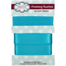 "Satin Ribbon Torn Blue 3m each 3/4"" x 1/16"""