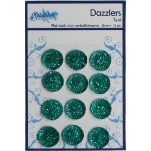 Dazzlers - Flat Back Resin Embellishments Teal