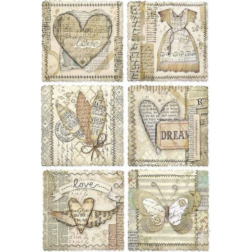 Stamperia A4 Rice Paper -  Heart Frames