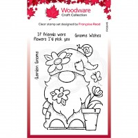 Woodware Craft Collection Clear Stamp Set - Garden Gnome