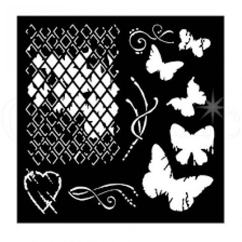 "Woodware 6"" x 6"" Stencil - Broken Diamonds"