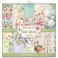 Stamperia Double Sided Paper Pad 12 x 12 inch Flower Alphabet