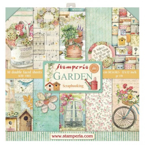 Stamperia Double Sided Paper Pad 12 x 12 inch Garden