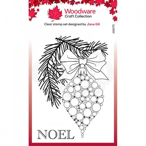 Woodware Craft Collection Clear Stamp Set - Bubble Bauble and Pine Branch