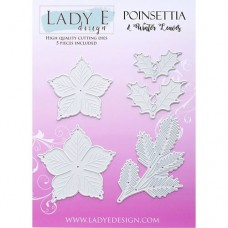 Lady E Design Poinsettia & Winter Leaves Die