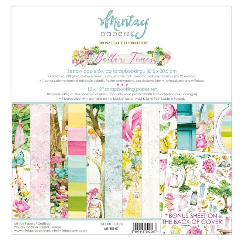 """Mintay Papers - Better Times 12 x 12"""" Scrapbooking Paper Set"""