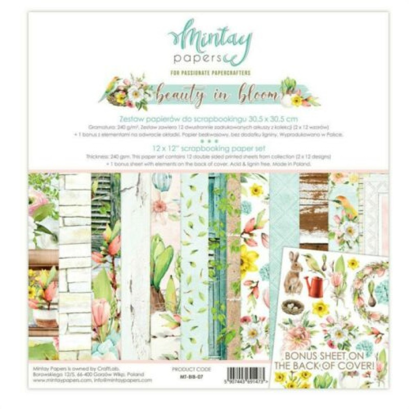 "Mintay Papers - Beauty In Bloom 12 x 12"" Scrapbooking Paper Set"