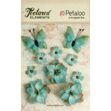 Petaloo - Textured Elements - Burlpap Blossoms Teal