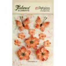 Petaloo - Textured Elements - Burlpap Blossoms Apricot