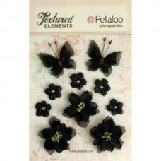 Petaloo - Textured Elements - Burlpap Blossoms Black