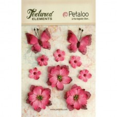 Petaloo - Textured Elements - Burlpap Blossoms Fuschia