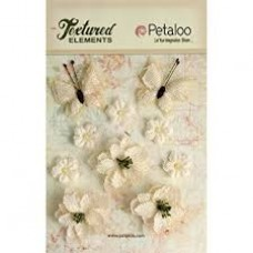 Petaloo - Textured Elements - Burlpap Blossoms Ivory
