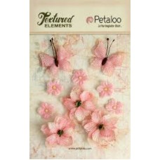 Petaloo - Textured Elements - Burlpap Blossoms Pink