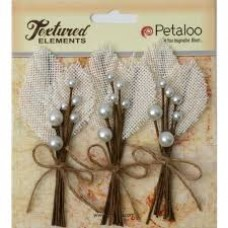 Petaloo - Textured Elements - Burlap Picks - Ivory