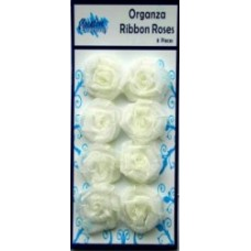 Organza Ribbon Roses - White