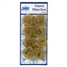 Organza Ribbon Roses - Metalic Gold