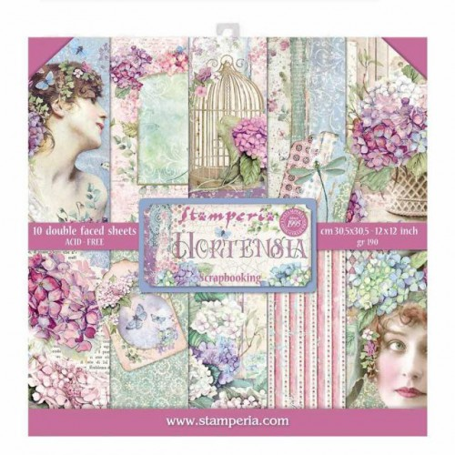 Stamperia Double Sided Paper Pad 12 x 12 inch Hortensia