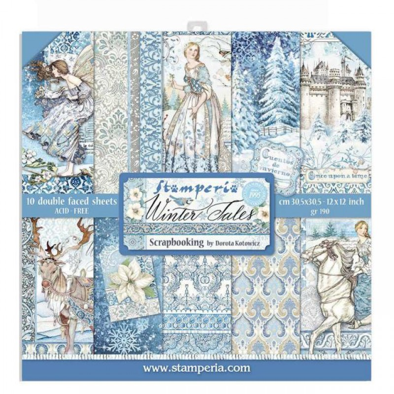 Stamperia Double Sided Paper Pad 12 x 12 inch Winter Tales