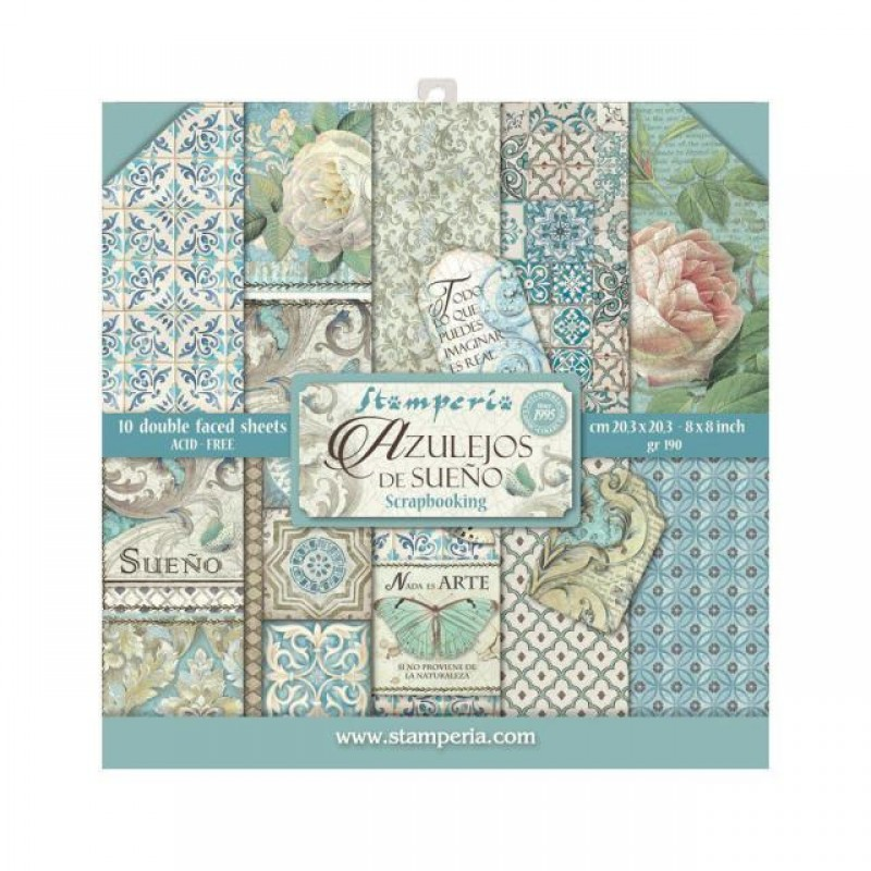 Stamperia 10 Double Faced Sheets - 8 x 8 - Azulejos
