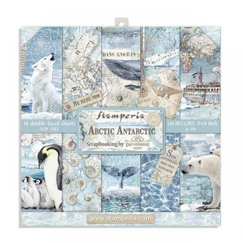Stamperia Double Sided Paper Pad 8 x 8 inch Arctic Antarctic