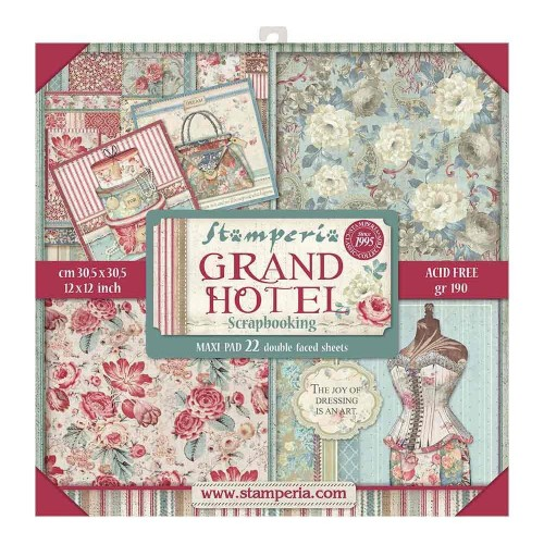 Stamperia 22 Double Faced Sheets Paper Pad 12 x 12 inch - Grand Hotel