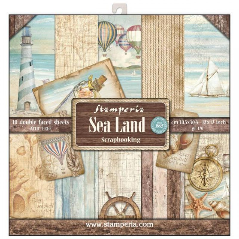 Stamperia Double Sided Paper Pad 12 x 12 inch Sea Land